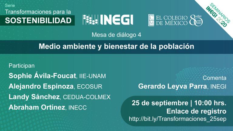 MESA DE DIÁLOGO Medio ambiente y bienestar de la población 25 de septiembre 2020, 10:00 hrs. COLMEX, CDMX